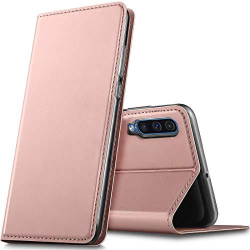 Verco Handyhülle für Galaxy A50, Premium Handy Flip Cover für Samsung Galaxy A50 Hülle [integr. Magnet] Book Case PU Leder Tasche, Rosegold