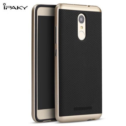 Original iPaky Brand Luxury High Quality Ultra-Thin Dotted Silicon Black Back + PC Gold Frame Bumper Back Case Cover for Xiaomi Redmi Note 3 - Gold Color
