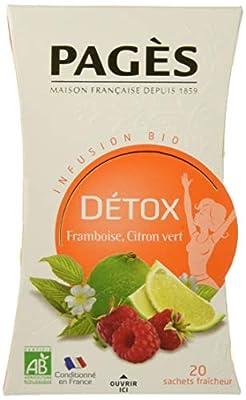 Pagès Infusion Bio Détox Framboise/Citron Vert - Boite De 20 Sachets - Lot De 4