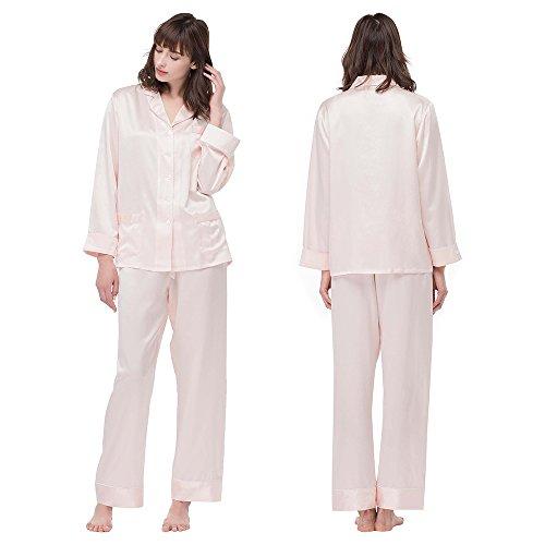 LILYSILK Ensembles de Pyjama en Soie 3 Pièces Femme 22 Momme Veste à Manches Longues + Pantalon Droit + Short Uni à Taille Elastiquée Rose Clair