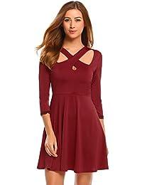 db5ef3ae0661 Chigant Sommerkleid Damen Kurz A-Linie 3 4 Ärmel Minikleid V Ausschnitt  Kleid Partykleid