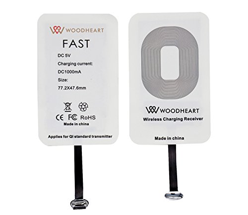Receptor de carga inalámbrico type C, WOODHEART Universal Super Speed Ultra Slim Receptor de carga inalámbrico de alta eficiencia para LG G5, Huawei P9, Honor 8, Nexus 6P, HTC 10, OnePlus 3 y otros dispositivos USB-C