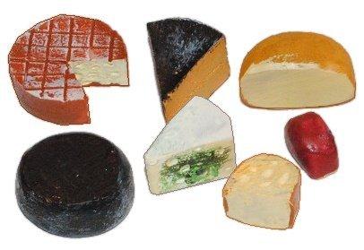 3 Stk. Käse Miniatur - Maßstab 1/12 - Miniaturen für Puppenstube Puppenhaus / Teller - Diorama - Käseteller Küche Edamer Gouda Tilsiter Essen - Puppenküche