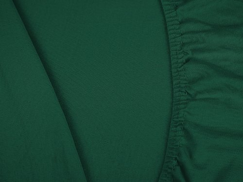 npluseins klassisches Jersey Spannbetttuch - erhältlich in 34 modernen Farben und 6 verschiedenen Größen - 100% Baumwolle, 90-100 x 200 cm, dunkelgrün - 5