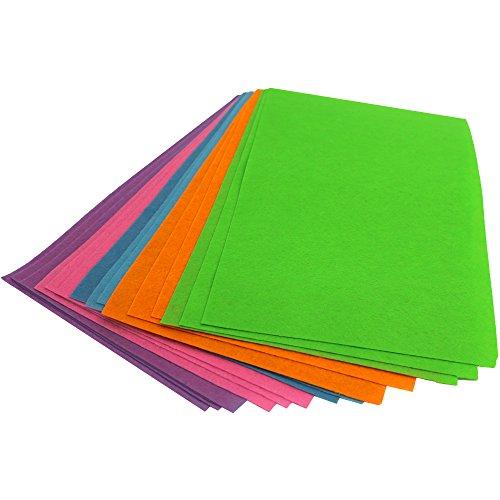 15 dünne Bastelfilzplatten aus Polyester – Größe: ca. 20 x 30 cm und 0,5 mm dick – Bunt sortierte Mischung Bastelplatten zum Ausschneiden, Kleben, Basteln oder Gestalten