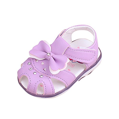FNKDOR Baby Mädchen Sandalen Babyschuhe LED Licht Leuchten Leuchtende Bowknot Schuhe(18 Monate / 12.5 cm,Violett)