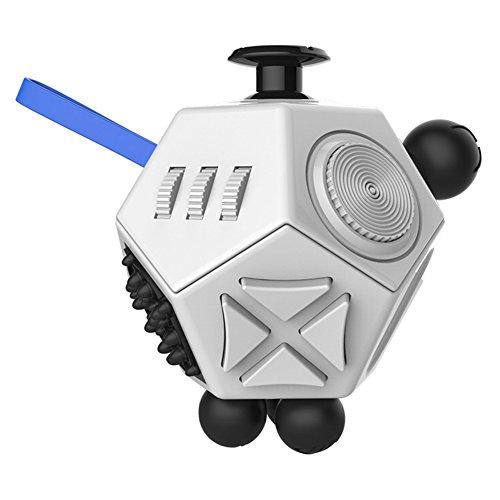 Relieve stress fidget cube, Fidget Dice ii for Stress Relief Fidget Cube Magic Cube for Fidget, 12 Sides of Novelty Toys (White)