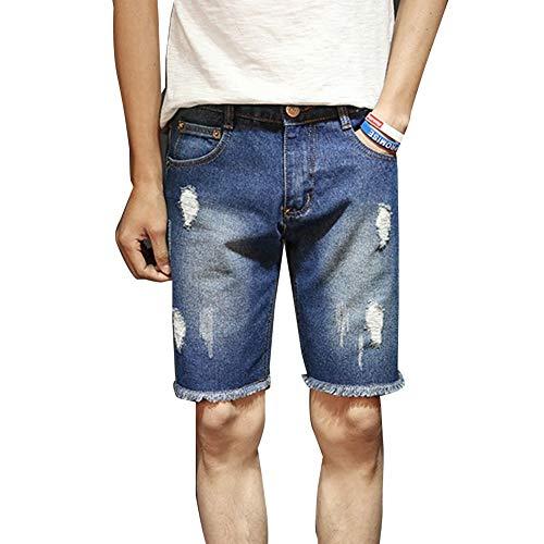 Pantaloncini di jeans di pantaloncini da uomo jeans corti mode di marca jeans strappati jeans di moda giovani pantaloncini casual a maniche corte (color : dunkelblau, size : 27)