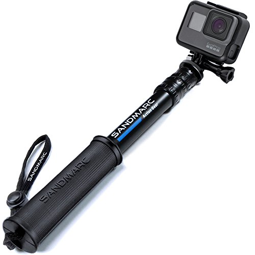 SANDMARC Pole - Compact Edition : 25-64 cm Perche (Stick) pour GoPro Hero 7, Osmo Action, Hero 6, Hero 5, 4, Session, 3+, 3, 2, HD Caméras - Aluminium Télescopique