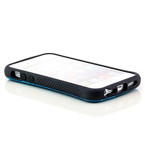 Saxonia. Saxonia Coque de protection arrière rigide Avec motif Pour Apple iPhone 5 5S Fuck off / England Kroko-blau