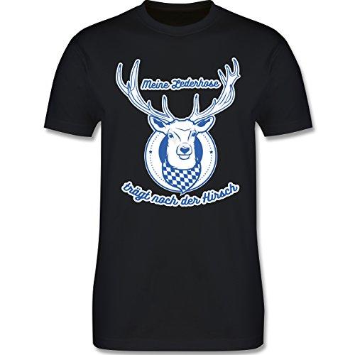 Shirtracer Oktoberfest Herren - Meine Lederhose Trägt Noch der Hirsch - Herren T-Shirt Rundhals Schwarz