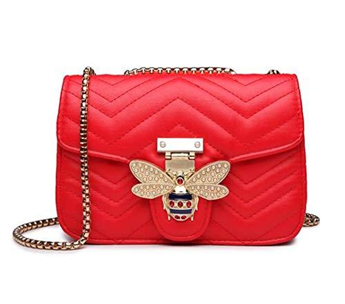 Kette Umhängetaschen für Frauen Handtaschen Frauen Taschen Messenger Leder Handtasche Small Red