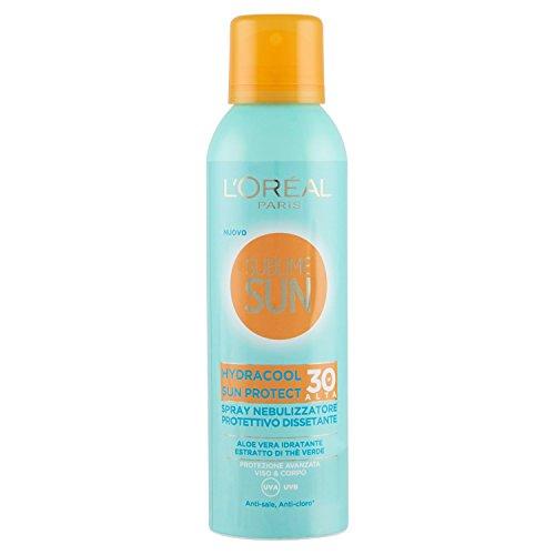 L'oréal paris crema solare sublime sun, hydracool sun protect, protezione solare spray alta ip30 dissetante, arricchito con aloe vera, 200 ml