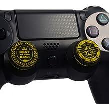 FoxMicro Yellow King's Choice Pack Of 2 Pcs Pandaren Thumb Grip Thumbstick For PS2, PS3, PS4, Xbox 360, Wii U Controller(4 PAIR/ 8 PCS)