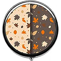 LinJxLee Autumn Leaves Pattern Round Pill Case Pill Box Tablet Vitamin Organizer Easy to Carry preisvergleich bei billige-tabletten.eu