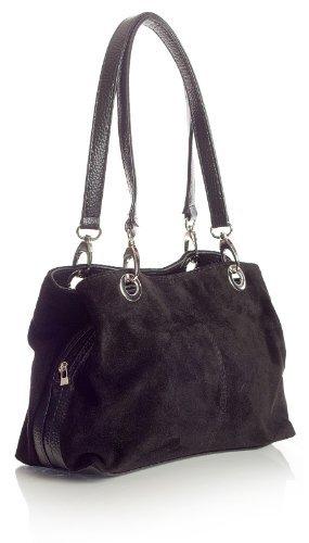 Big Handbag Shop Damen kleine Twin Top Multi-Reißverschlusstasche, Wildleder, Schultertasche aus Leder, Schwarz - schwarz - Größe: Einheitsgröße (Handtasche Satchel Multi-tasche)
