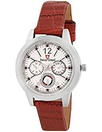 Swiss Grand SG12721 Brown Coloured With Brown Synthetic Leather Strap Quartz Watch For Women