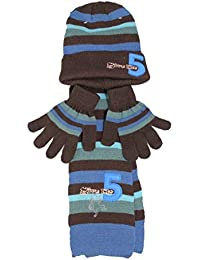 lupilu - Set de bufanda, gorro y guantes - para niño Multicolor carbón Talla única