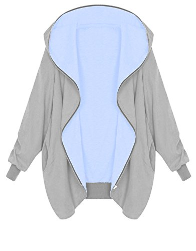 Zarlena Damen Full Zipper Jacke Hoodie Oversized Kapuzenjacke Grau/Hellblau Large