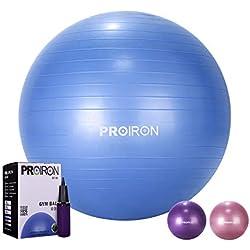 PROIRON Ballon de Fitness Suisse Epais Exercice de Yoga Gym Stabilité Anti-explosion avec Pompe à Main 65cm Bleu