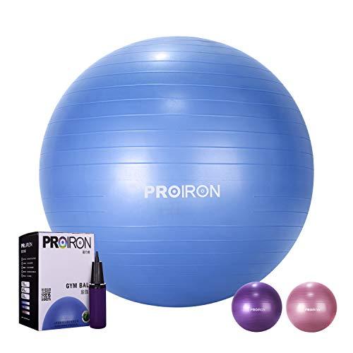PROIRON Palla Fitness Palla Yoga Ball per Ginnastica Pilates Esercizi Gravidanza Fisioterapia Antiscivolo e Antiscoppio con Pompa 65 75 cm Ball per Fitness