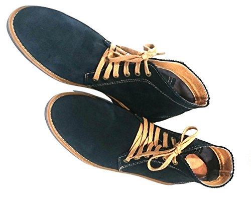 Hebold Handmade Schuhmacherei Bottes Chukka DERBY bottes Homme Taille au choix et Largeur sur demande disponible en livraison Matériel Cuir Nubuck Couleur Bleue bleu foncé