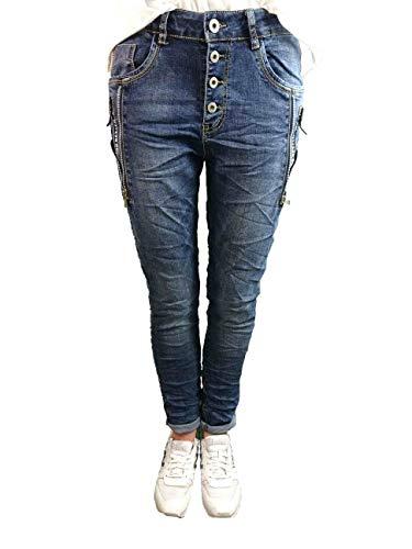 Karostar by Lexxury Denim Stretch Baggy-Boyfriend-Jeans Boyfriend 4 Knöpfe offene Knopfleiste weitere Farben Dark Denim Zip XL-42