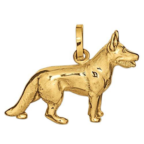 Clever Schmuck Goldener Anhänger Deutscher Schäferhund 18 x 19 mm 3D vollplastisch figürliche Form glänzend 333 GOLD 8 Karat (Adult Deutscher Schäferhund)