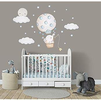 Elefant Sticker Junge Heißluftballon Wandsticker Elefant Babyzimmer Aufkleber Kinderzimmer Wandaufkleber Jungen Babyzimmer Wandsticker Junge Baby Wandtattoo Jungen Babyzimmer Deko Blau Ballon Wanddeko