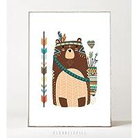 Kunstdruck / Poster KLEINER BÄR -ungerahmt- Tier, Bär, Boho, Kinderzimmer, Indianer, Geschenk, Geburtstag, Taufe, Kind, Muster, Waldtier