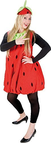 Erdbeerkostüm rot-schwarz für Erwachsene | Einheitsgröße | Einteiler Obst Kostüm mit Hut | Frucht Kostüm Unisex Faschingskostüm | Erdbeer - Eine Schwangere Frau Kostüm