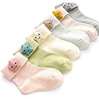 Wzbb Calcetines 6 Par De Lote, Calcetines De Bebé Bebé Recién Nacido Calcetines De Algodón De Algodón De Otoño E Invierno Calcetines