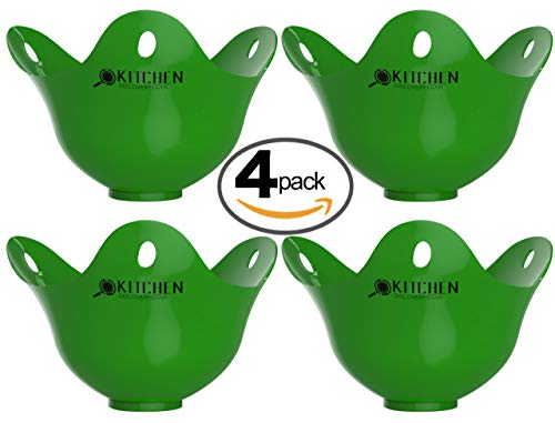 Escalfador de huevos - Paquete de 4 para cocinar huevos escalfados -¡GARANTÍA DE POR VIDA! Contenedores para escalfar de la mejor calidad, escalfador de huevos de silicona para cocinar huevos escalfados perfectos. Rápido y fácil de usar, ¡¡Huevos listos en pocos minutos!! Estos revolucionarios escalfadores de huevos son el futuro de la cocina fácil y reemplazarán los utensilios de cocina insalubre / Taza de huevos / Sartén escalfadora de huevos / Escalfador para microondas de huevos.