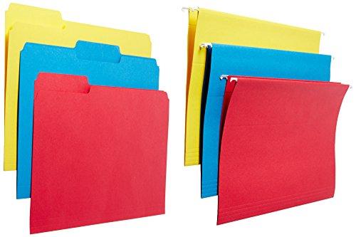 Ampad Combo Feilen-Set mit 12Innen Datei Ordner und 12Ordner zum Aufhängen, Rot, Blau, und Gelb, Buchstabe Größe, Total 24pro Box (16157) (Einreichung Kit)