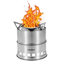 Lixada Camping Stove Stainless Steel Lightweight Wood Stove Solidified Alcohol Stove Portable Outdoor Cooking Picnic BBQ with Mesh Bag