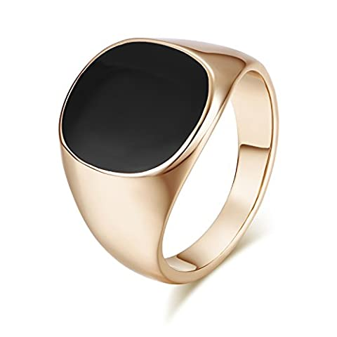 Yoursfs Cool Signet Ring Mens 18ct Rose Gold Plated Black Onyx Stone Pinky Statement Punk Rings for Men Fashion Jewellery