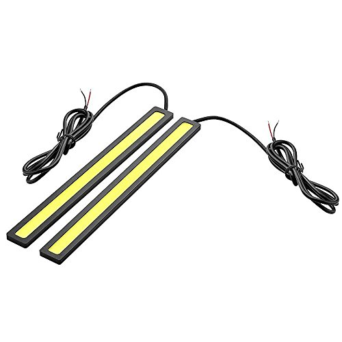 6W LED Luz Lampara - SODIAL(R)1 Par de 6W 6000K Impermeable Xenon Blanco Delgado Cob DRL LED Luz Lampara de Diurna para Coche(Negro, Amarillo)