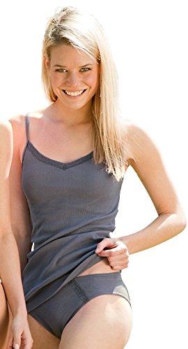 Engel Natur Damen-Top mit V-Auschnitt und Spitze | Damen-Unterhemd aus 100% Bio-Baumwolle (34/36, graphit) (- Engel-bh-top)