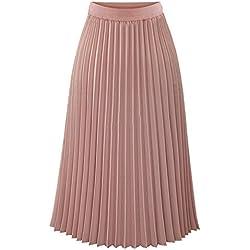TEERFU - Falda Plisada para Mujer, Verano, Bohemio, Falda de línea A Rosa Rosa 44