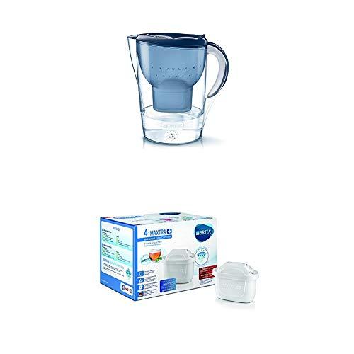 Brita Wasserfilter Marella XL, inkl. 1 Maxtra+ Filterkartusche blau + Filterkartuschen Maxtra+ 4er Pack, weiß