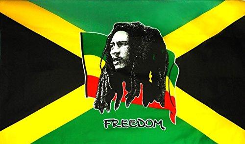 DRAPEAU JAMAICAIN BOB MARLEY FREEDOM 90 CM X 150 CM POLYESTER AIRSOFT