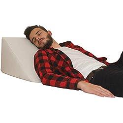 Oreiller de lit, soutien du dos dans le lit, le canapé et le sofa TV, oreiller de lecture - Taille 60cm X 50cm, Hauteur 30cm - Blanc
