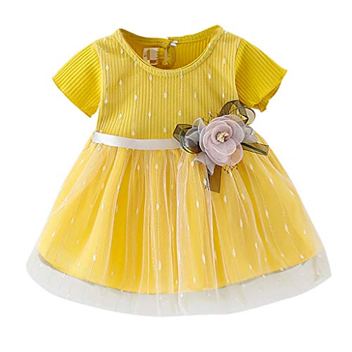 Innerternet Baby Kleid Mädchen Süß Blume T-Shirt Tüll Flower Ballett Kleid Prinzessin Kleid Girl Kleid MäDchen Outfits Kleidung Prinzessin Kleid 1-5 Jahre (Elfenbein Blumen-mädchen-kleider Gold)