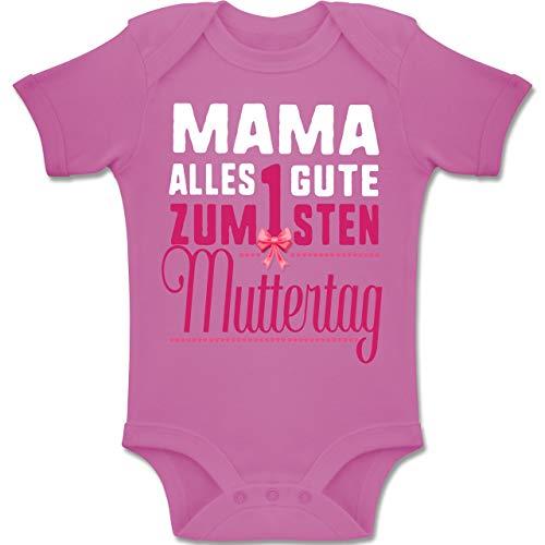 Shirtracer Muttertag Baby - Mama, Alles Gute zum 1sten Muttertag - 6-12 Monate - Pink - BZ10 - Baby Body Kurzarm Jungen Mädchen