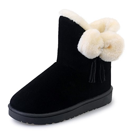 Fortuning's JDS Bow Classique Bottes Mocassin neige Court chaudes bottes de fille de la femme Noir