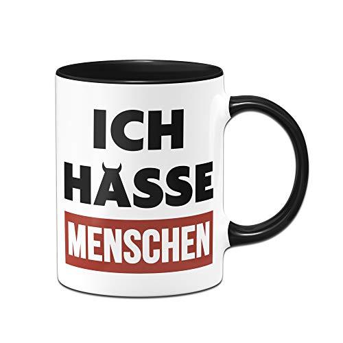 Tassenbrennerei Tasse mit Spruch Ich Hasse Menschen - Bürotasse, lustige Tasse fürs Büro Tassen mit Sprüchen lustig (Schwarz/Rot)