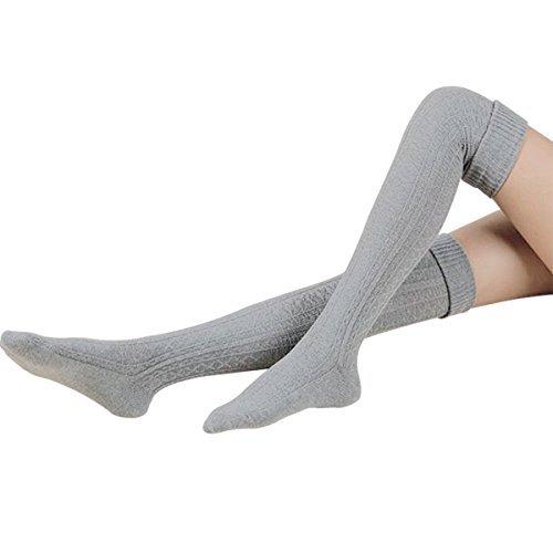 HITOP 1 Paar Damen Overknee Überknie Kniestrümpfe Mädchen Hold-up-Strümpfe Retro Schüler Knitting Sportsocken (Grau)