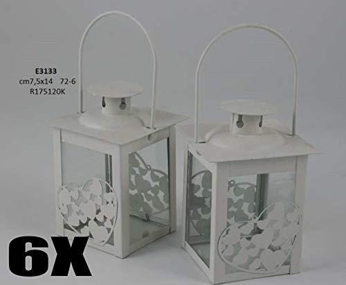 6 pezzi lanterna portacandela in metallo con cuoricini bomboniera matrimonio allestimento
