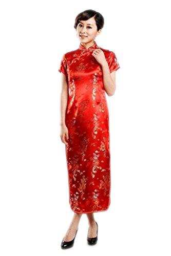 JTC Femme dragon et Phénix Robe Longue Cheongsam Qipao Manche Courte Brocade-5 couleurs Rouge