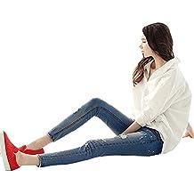 Mujeres Vaqueros Ajustados Elástico Pantalones Tejanos Rotos Jeans De Tiro Alto Azul 26